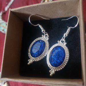 Silver Plated Navy Blue Glitter Stone Earrings